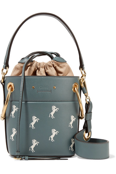 2468d2d51fa7 ChloÉ Chloe Mini Roy Horse Embroidered Bucket Bag In Blue In Gray Green