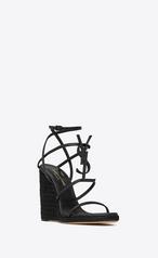 Saint Laurent Cassandra Wedge Espadrilles With Tonal Ysl Logo, Black In 1000 -  Black