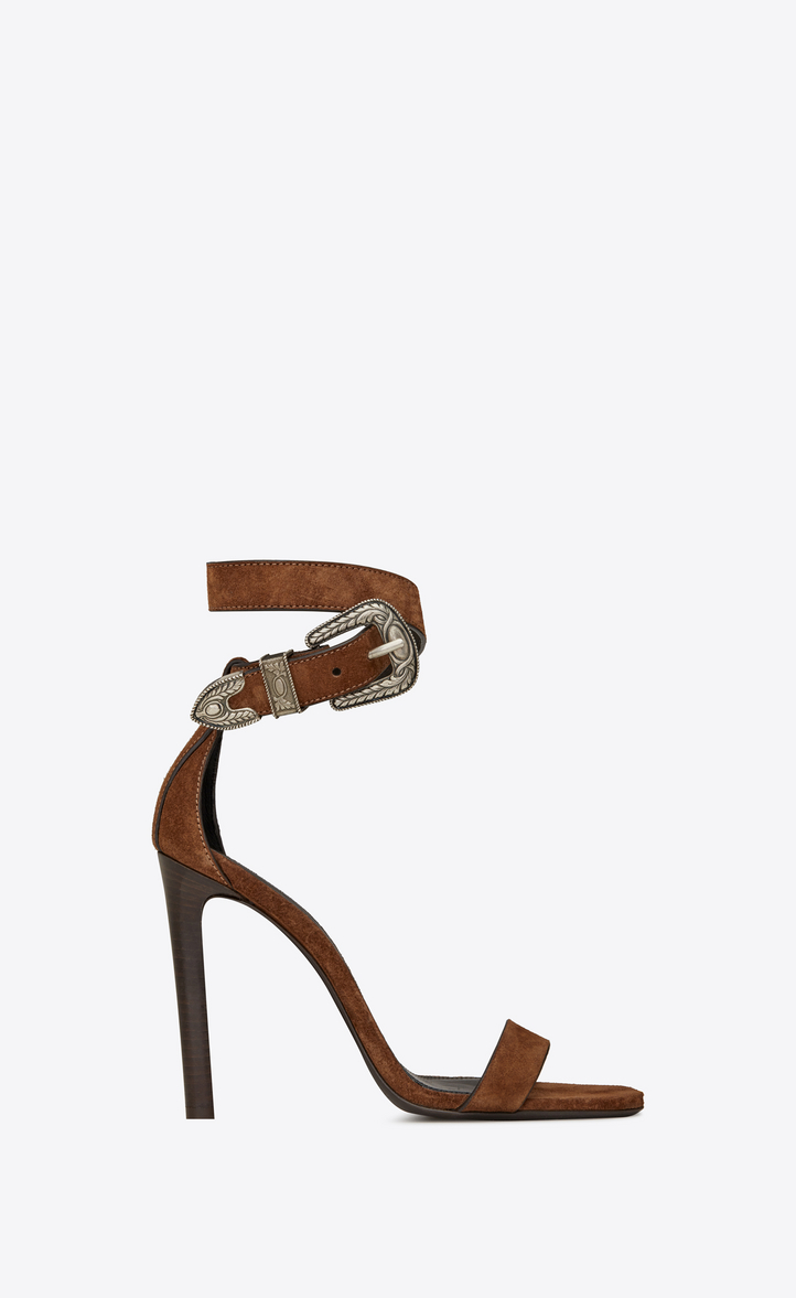 19543c80945 Mica Suede Ankle-Strap Sandals in Brown