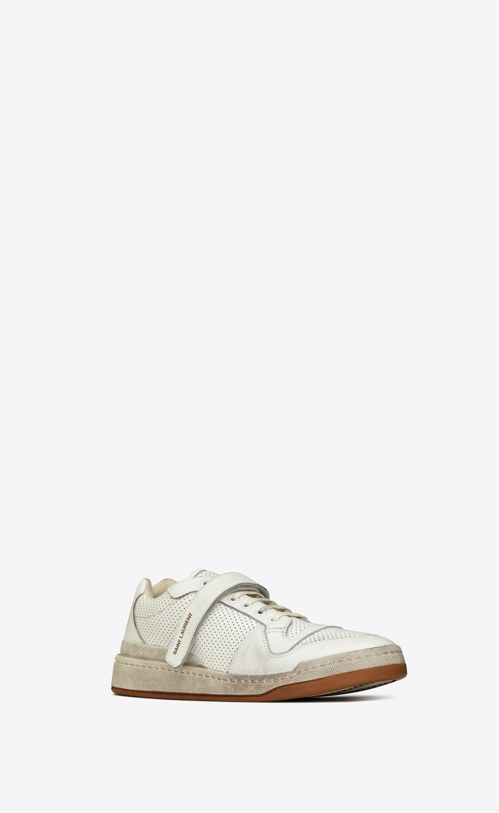 Saint Laurent Travis Logo-Print Distressed Perforated Leather Sneakers In White