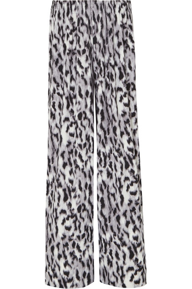c23b654609c4f Norma Kamali Elephant Striped Leopard-Print Stretch-Jersey Wide-Leg Pants  In Gray