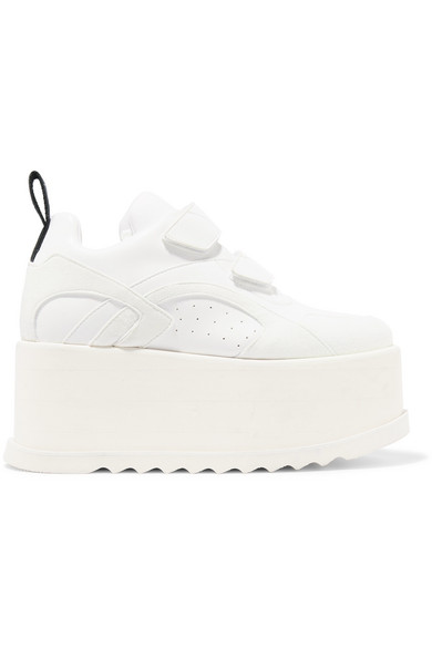 5146615773c Stella Mccartney Eclypse Faux Leather-Trimmed Faux Suede Platform Sneakers  In White