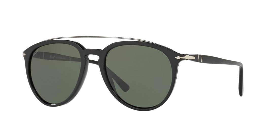b23248166f569 Persol 55 Black Pilot Sunglasses - Po3159S In Black Frames Green Lenses