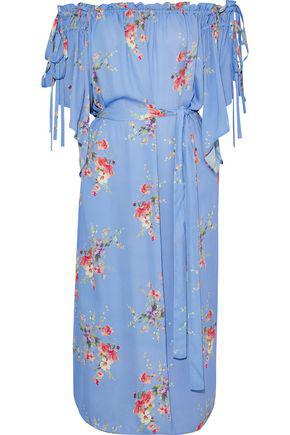07d6f138413d Love Sam Woman Off-The-Shoulder Floral-Print Crepe De Chine Midi Dress