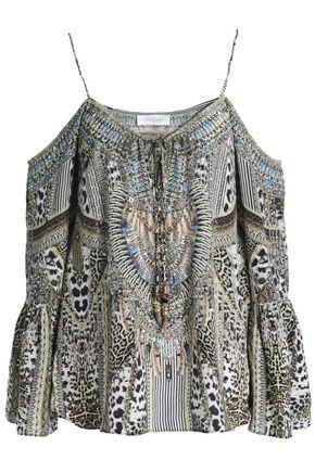 dafc737100373 Camilla Woman Cold-Shoulder Crystal-Embellished Printed Silk Crepe De Chine  Top Animal Print