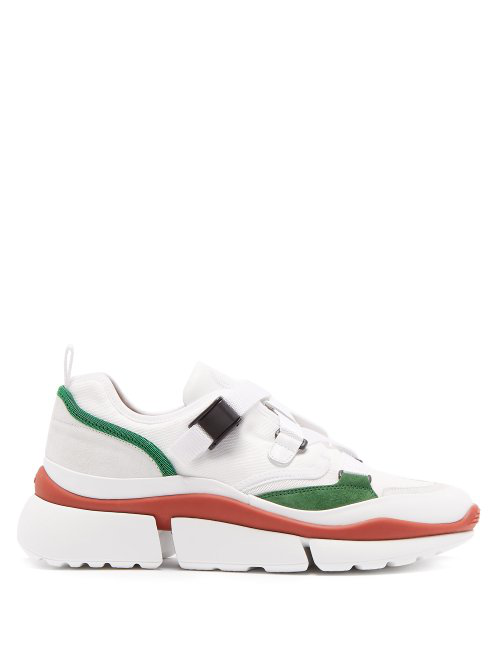 CHLOÉ Sonnie raised-sole low-top leather trainers