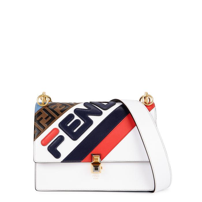 08849c74fcb5 Fendi Mania Kan I Medium Leather Shoulder Bag In White
