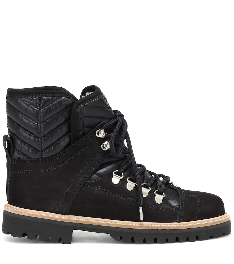 5e94d230d41 Ganni Suede And Quilted-Canvas Ankle Boots In Black | ModeSens