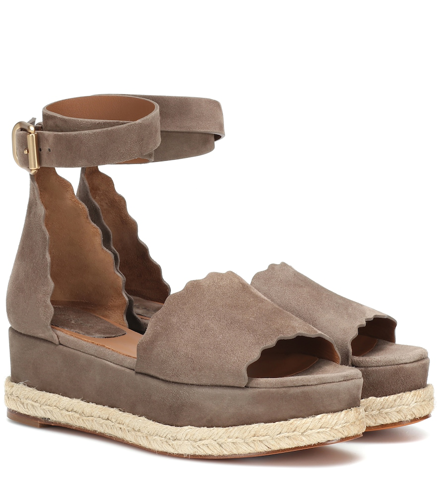 754060050a8b ChloÉ Scalloped Platform Espadrille Sandals In Brown