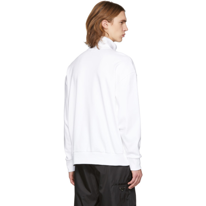 a5c6bbc1 Hugo White Reverse Logo Patch Pocket Zip-Up Sweatshirt In 100 White ...