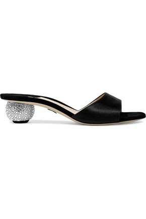Embellished Crystal Satin Andrew Woman Arco Paul Black Suede Paneled Mules Yf6yb7g