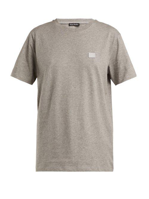 9452f18853d Acne Studios Nash Face AppliquÉD Cotton-Jersey T-Shirt In Light Gray ...