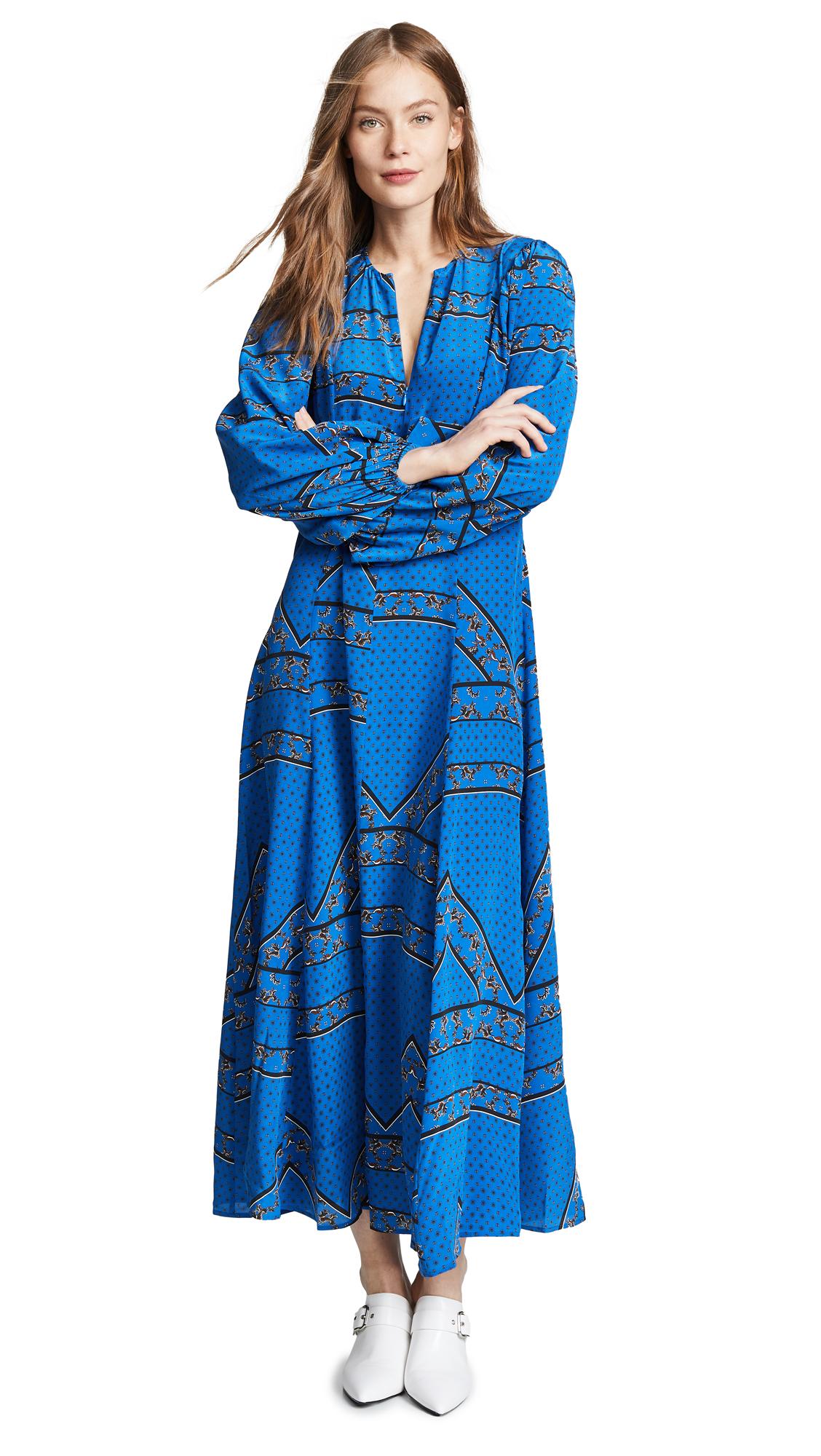 8b609250 Ganni Cloverdale Floral-Print Silk-Crepe Midi Dress In 593 Lapis Blue