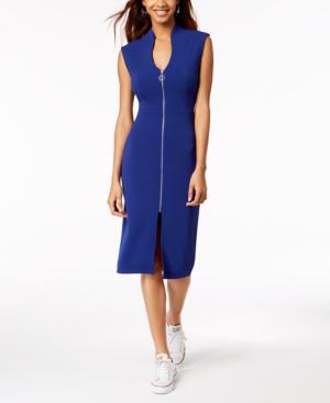 Almost Famous Juniors' Zip-Front Dress In Cobalt