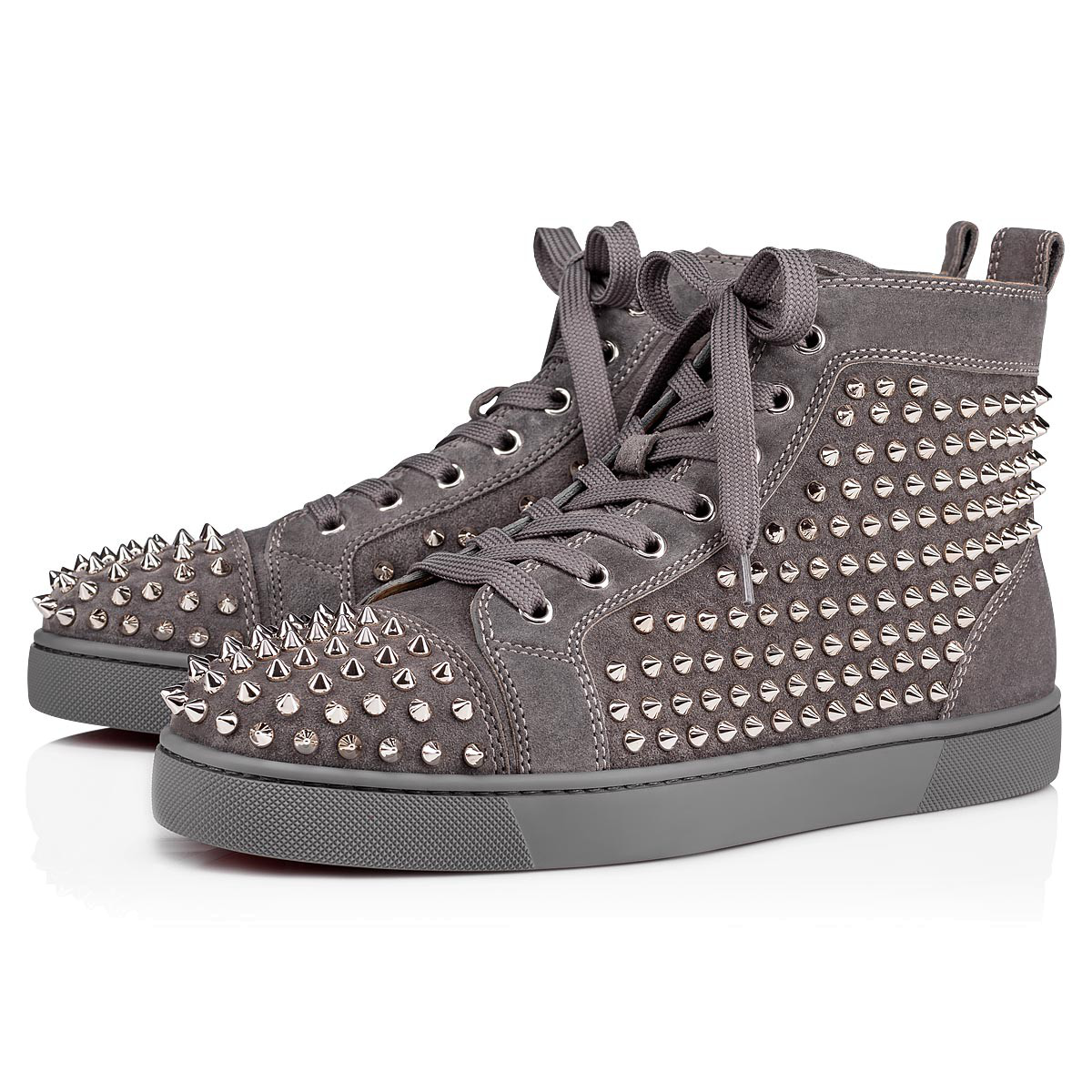 d199dd49aaca Christian Louboutin Louis Spike-Embellished High-Top Trainers In Grey-Blue