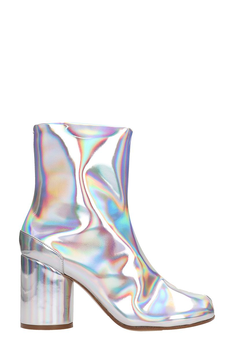 Maison Margiela Tabi Ankle Boots In Silver Modesens