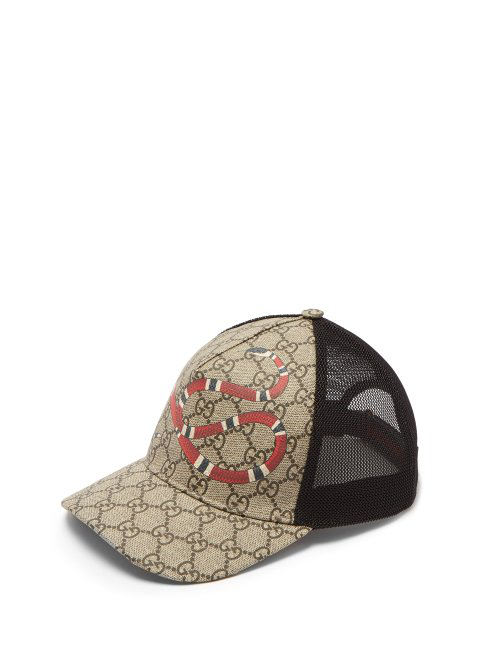 494d99fd86e Gucci Rap Baseball Cap With Snake And Gg Logo Detailing In Neutrals ...