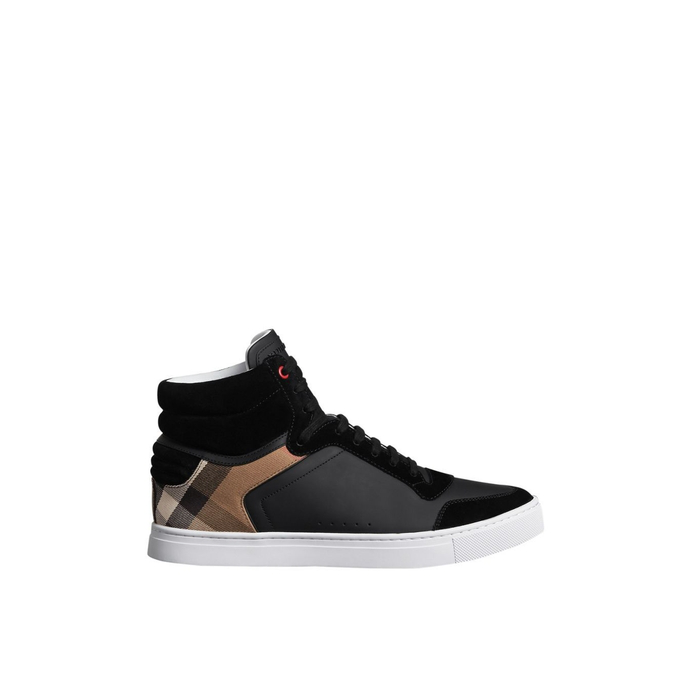 7ffb53e1b28 Burberry Men s Reeth Leather   Canvas High-Top Sneakers In Black ...