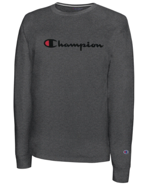bb44c988710d Champion Men's Script-Logo Long Sleeve Tshirt In Granite Heather ...