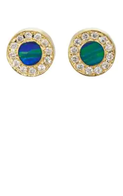 ed94525ea928c Opal & Diamond Stud Earrings - Green