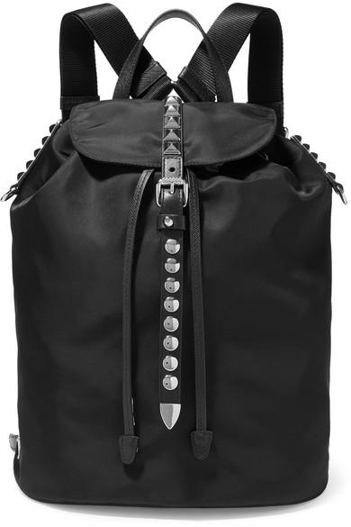 9f54ed5011f5 Prada Vela Studded Leather-Trimmed Shell Backpack In Black | ModeSens