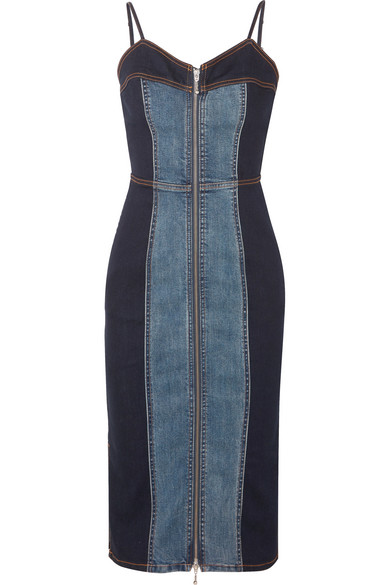 2b9f087250a Current Elliott The Jacqueline Paneled Zip-Front Denim Midi Dress In ...