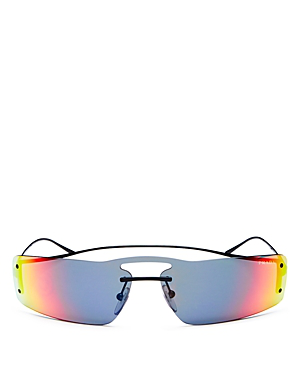 49ce72c72966a Prada Women s Mirrored Brow Bar Rimless Shield Sunglasses
