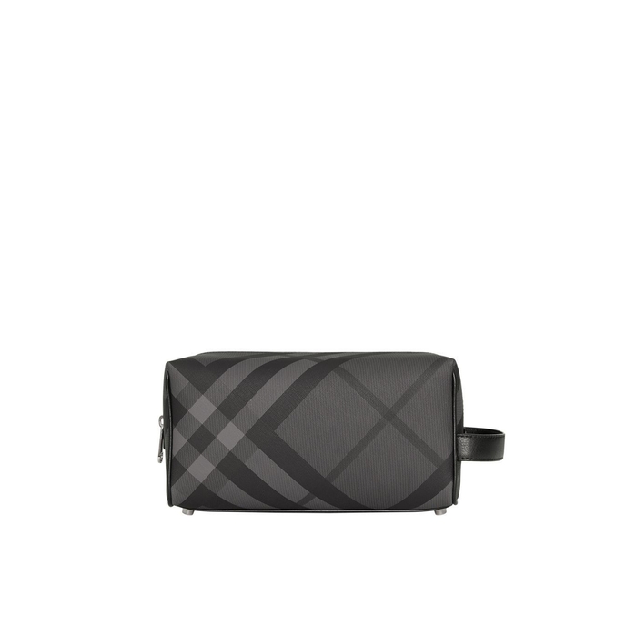 117f5c0c7fb9 Burberry Ekd London Check And Leather Pouch In Charcoal Black