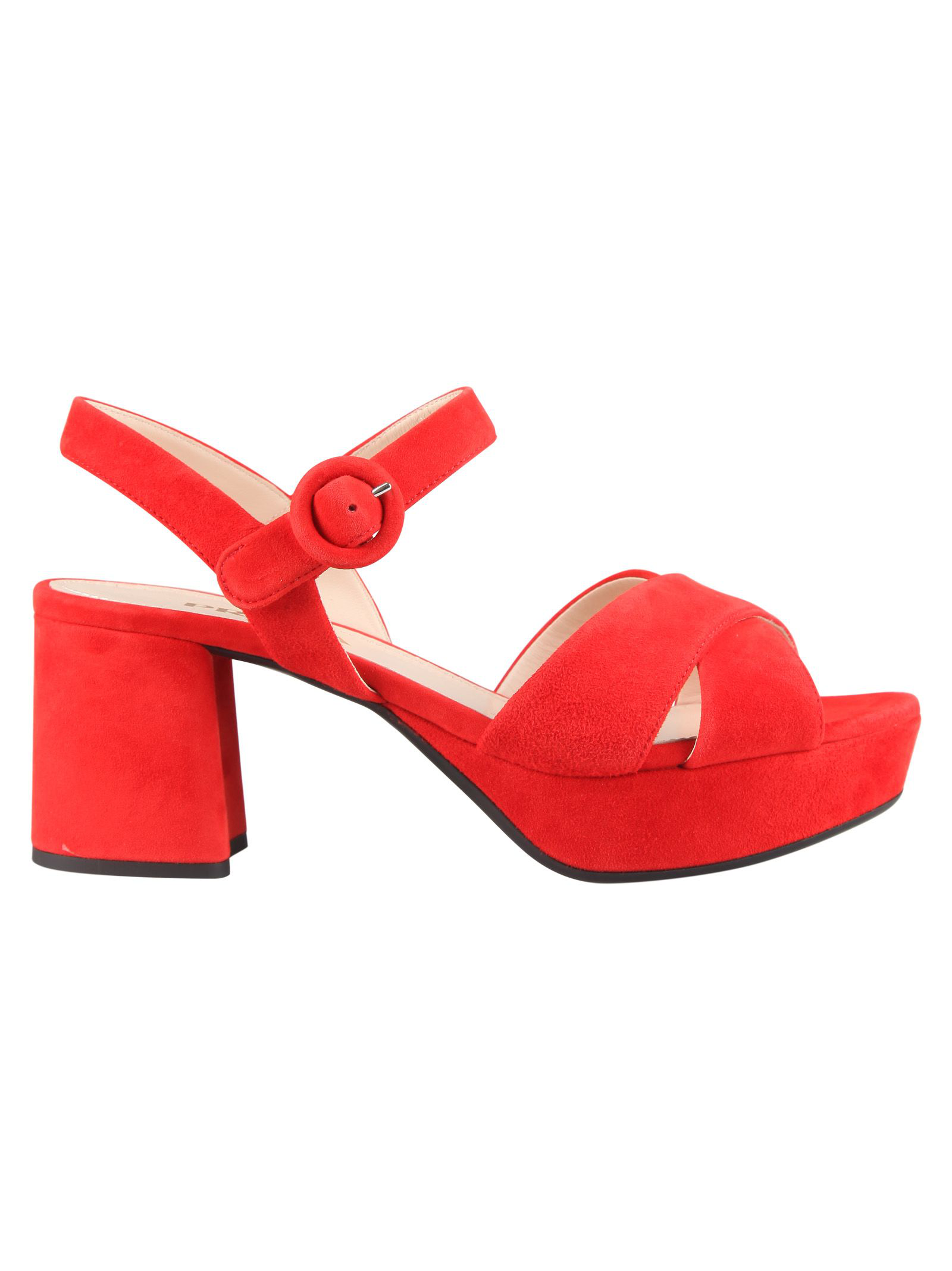 e130bb9b583c Prada Suede Crisscross Ankle-Wrap 65Mm Sandals In Red