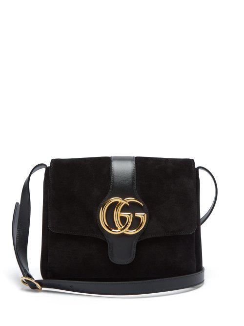 842702158800 Gucci Arli Medium Leather-Trimmed Suede Shoulder Bag In Black | ModeSens