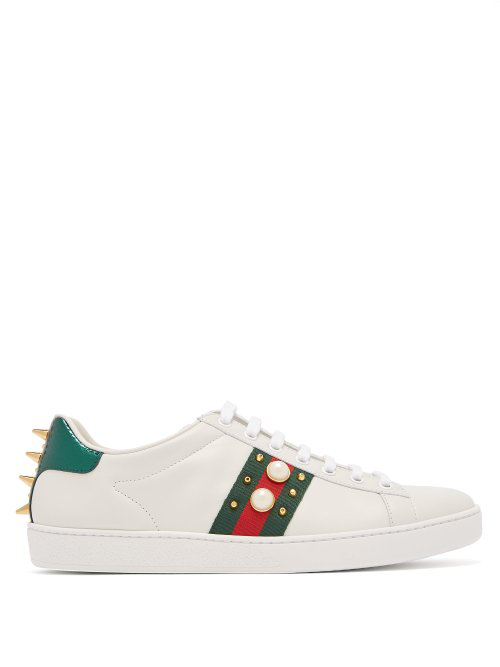 super popular 8b5a2 f8064 Gucci Ace Faux Pearl-Embellished Metallic Watersnake-Trimmed Leather  Sneakers In White