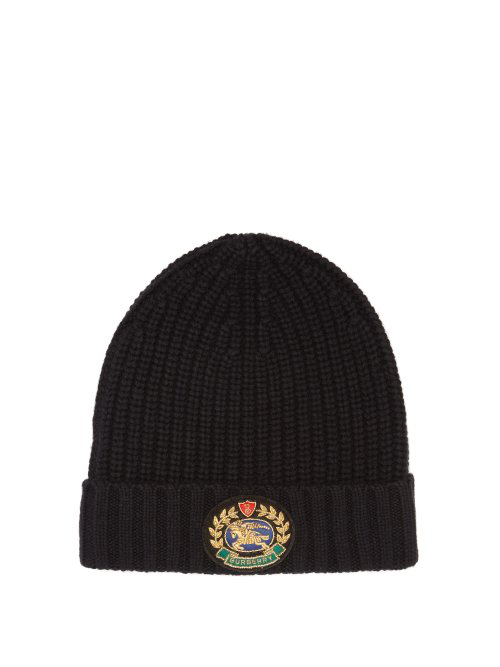 2b615470fdbe2 Burberry Embroidered Crest Rib Knit Wool Cashmere Beanie In Black ...