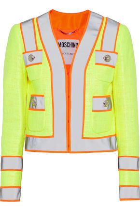 2d13bfaa445 Moschino Woman Neon-Trimmed Coated Cotton-Blend Gauze Jacket Bright Yellow