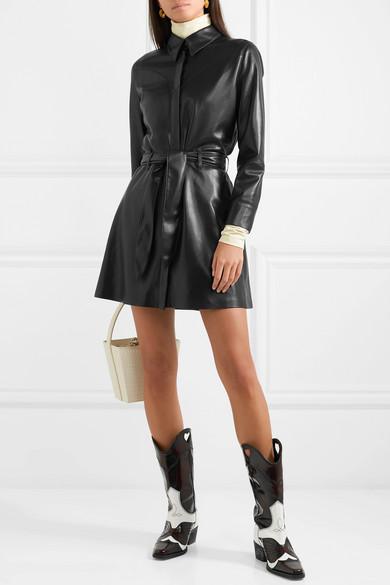 ff059feec6 Nanushka Gisele Belted Vegan Leather Mini Dress In Black   ModeSens