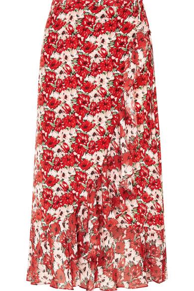 ae94715ff013 Rixo London Gracie Ruffled Floral-Print Silk Crepe De Chine Wrap Skirt In  318 Rosso