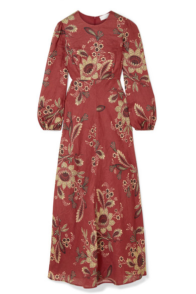 7ae73bf9543 Zimmermann Juno Floral-Print Linen Maxi Dress In Brick