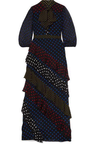 19e65051f05 Alice And Olivia Lessie Tie-Neck Blouson-Sleeve Ruffle Dress