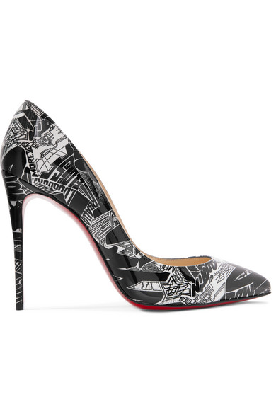2d8e235a6e6a Christian Louboutin Pigalle Follies Nicograf 100 Printed Patent-Leather  Pumps In Black