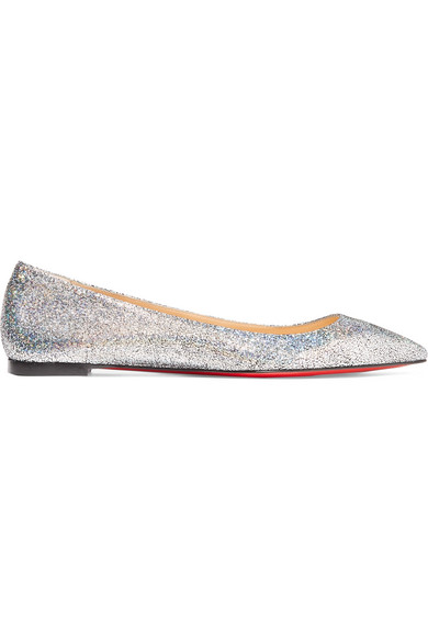 buy online 3fb61 f623d Christian Louboutin Ballalla Iridescent Glittered Leather ...