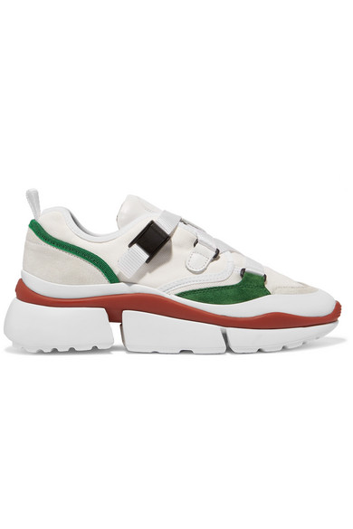 CHLOÉ Sonnie canvas, mesh, suede and leather sneakers