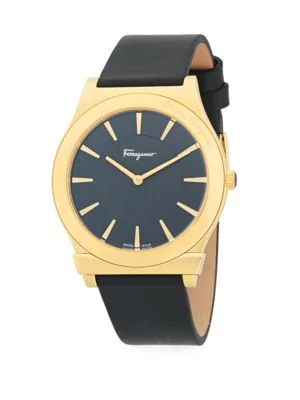 5848b247ad3 Salvatore Ferragamo Logo Stainless Steel & Leather-Strap Watch In Gold