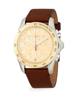 Chrono Classic Stainless Steel Leather Strap Chronograph Watch In Champagne