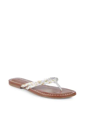 634dd434262 Bernardo Double-Strap Leather Thong Sandals In Gold Silver