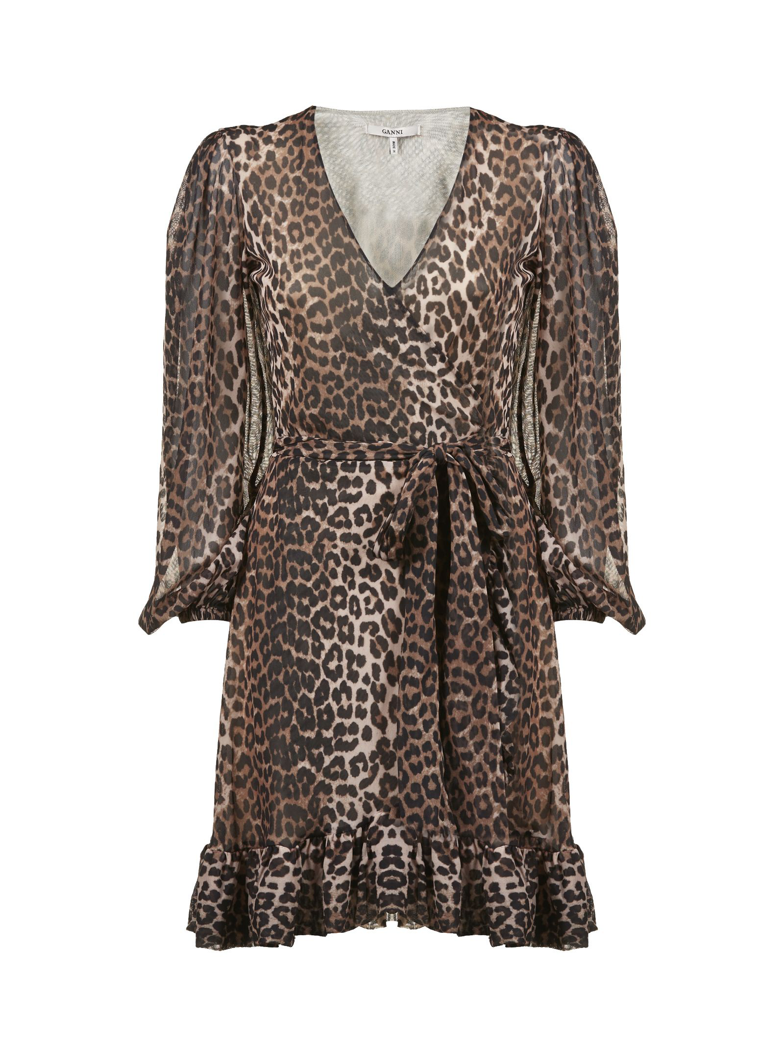 3844eaa1435 Ganni Tilden Leopard-Print Chiffon Wrap Dress In Brown