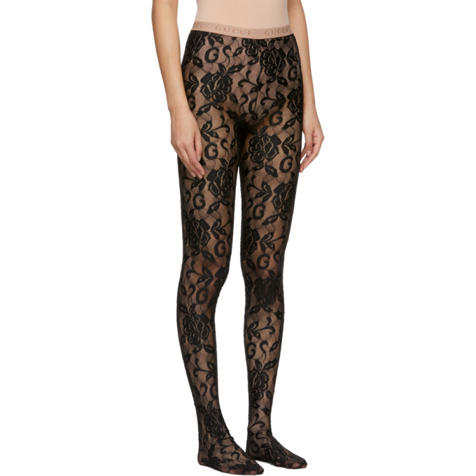 3773107832d50 Gucci Black Lace Tights In 1000 Black | ModeSens