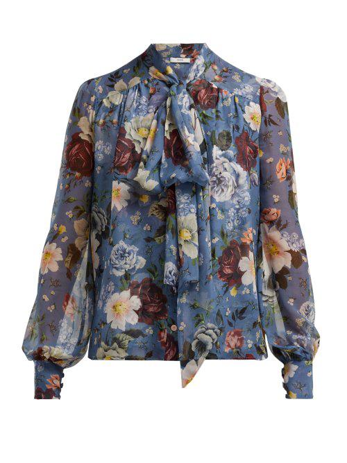 9ffce96bb40fe5 Erdem Floral Print Tie Neck Silk Voile Blouse In Blue Multi   ModeSens