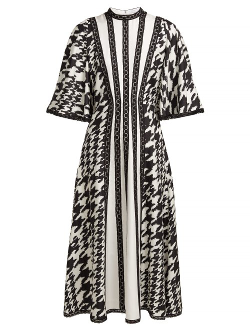 287afce8ee Andrew Gn - Houndstooth Print Silk And Lace Midi Dress - Womens - Black  White