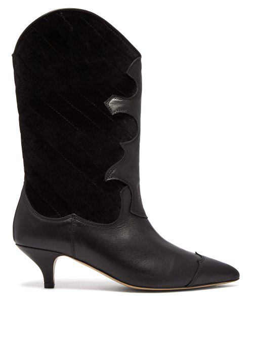 8928eef50fa Ganni Leather And Quilted Velvet Knee Boots In Black | ModeSens
