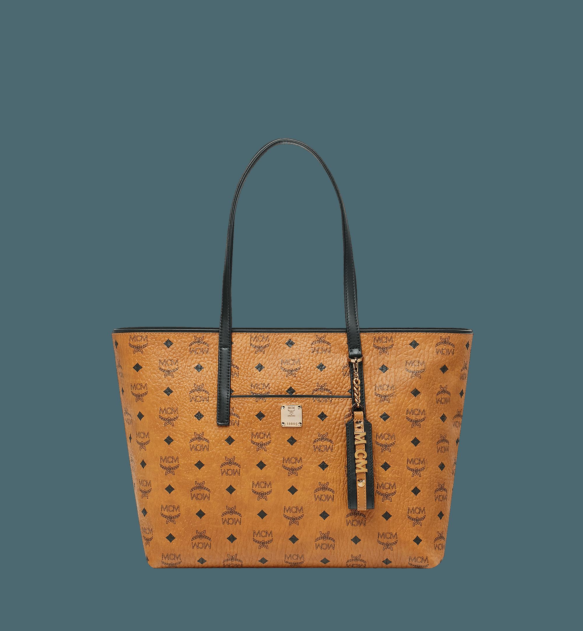 Cognac Visetos Medium Anya Top Zip Shopper