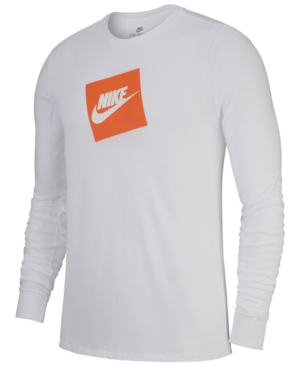91d62ba8fc6f5 Nike Men'S Sportswear Futura Shoebox Logo Long-Sleeve T-Shirt In White